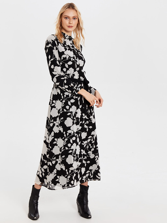 %100 Polyester %100 Polyester Uzun Baskılı Uzun Kol Ofis/Klasik Kuşaklı Desenli Şifon ElbiseElbise