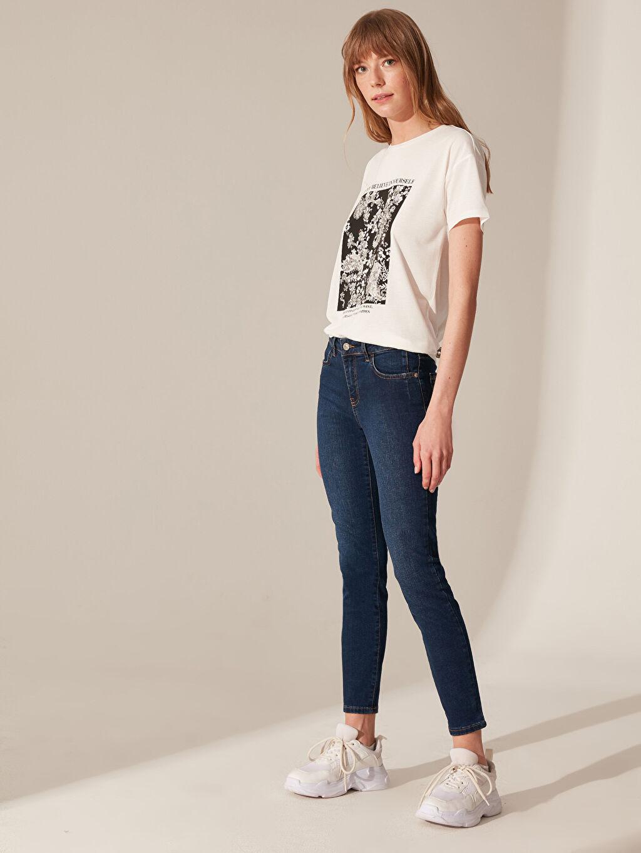 %85 Pamuk %13 Polyester %2 Elastan Normal Bel Dar Jean Normal Bel Skinny Jean Pantolon