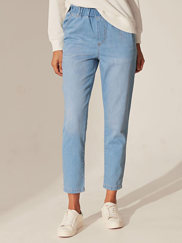 %100 Pamuk Bol Jean Yüksek Bel Orta Kalınlık Beli Lastikli Mom Jean Pantolon