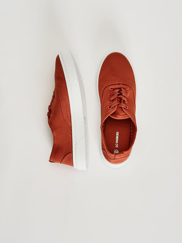 %0 Tekstil malzemeleri (%100 pamuk)  Kadın Bağcıklı Sneaker