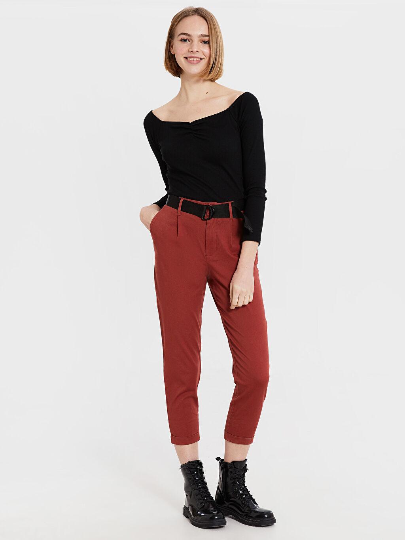 %98 Pamuk %2 Elastan Normal Bel Standart Esnek Kısa Paça Kemerli Pantolon Kemerli Kısa Paça Pantolon