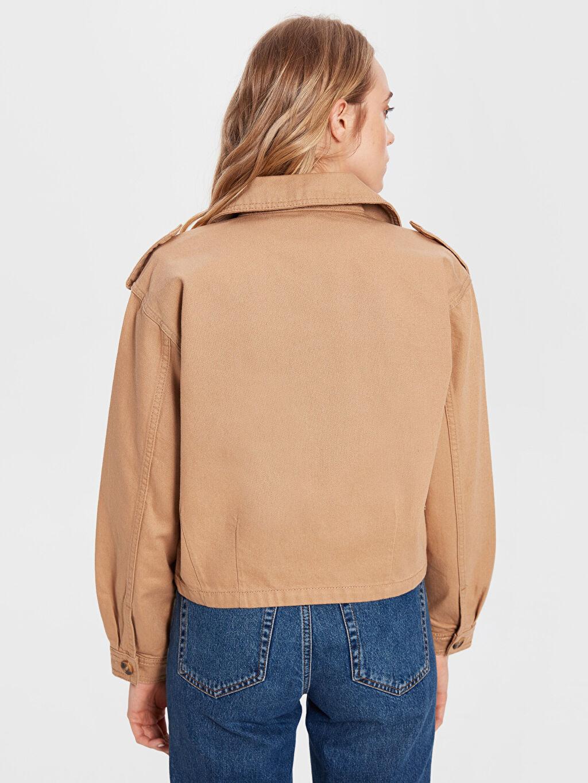 %100 Pamuk Düğme Detaylı Jean Ceket