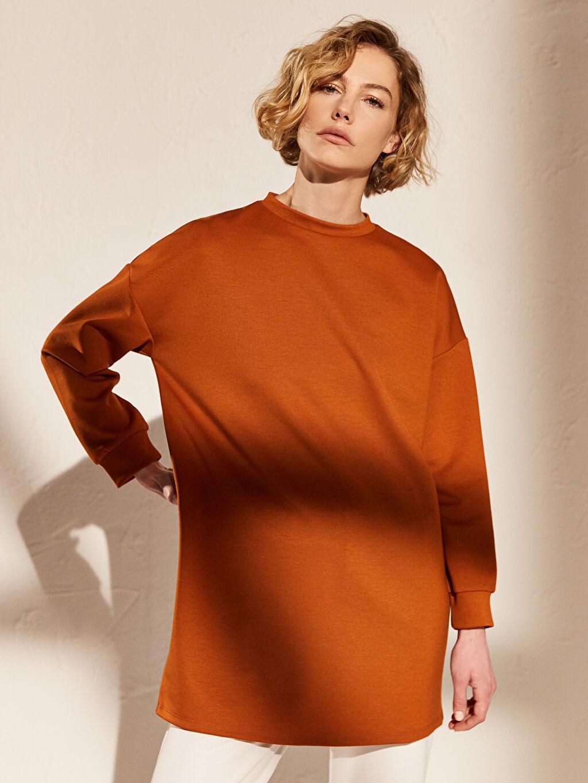 %79 Polyester %18 Viskoz %3 Elastan  Düz Salaş Oversize Sweatshirt
