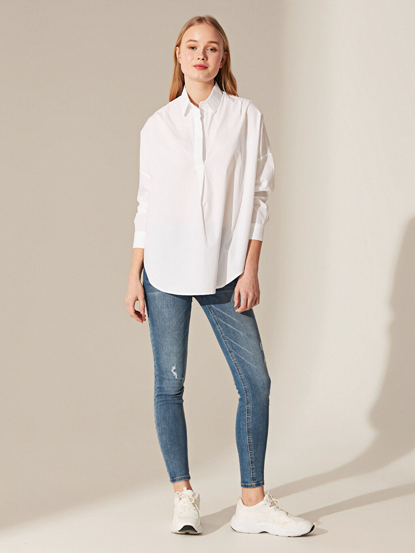 %100 Pamuk Bluz Düz Standart Poplin Gömlek Bol Pamuklu Salaş Bluz