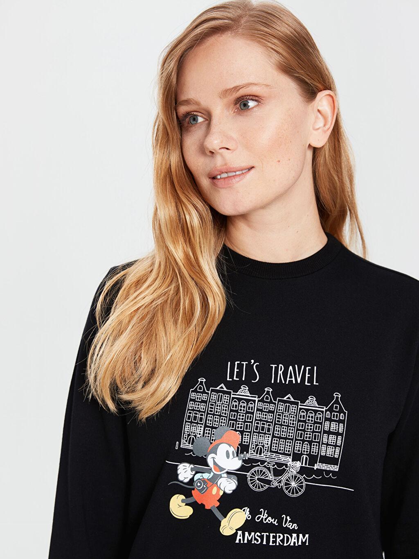 Siyah Mickey Mouse Baskılı Sweatshirt 0SO408Z8 LC Waikiki