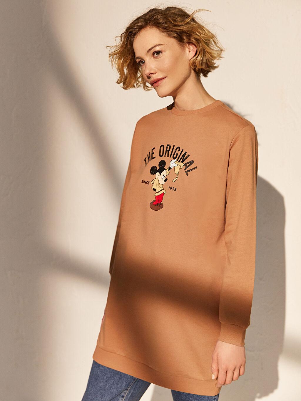 %100 Pamuk  Mickey Mouse Baskılı Sweatshirt