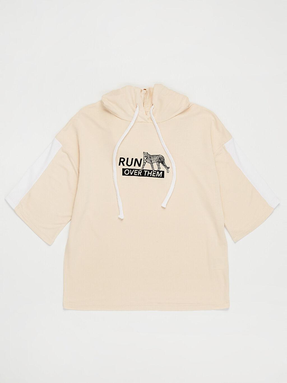 %100 Viskon Baskılı Kapüşonlu Sweatshirt