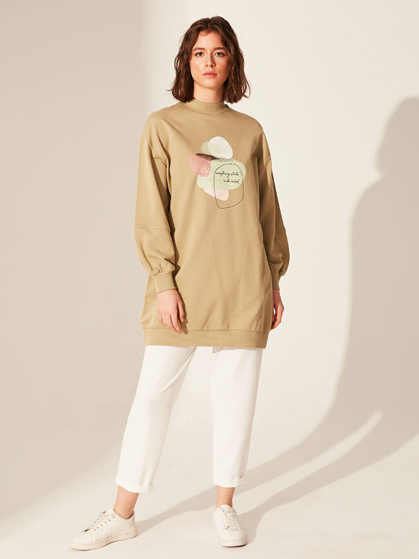 %100 Pamuk Baskılı Pamuklu Oversize Sweatshirt