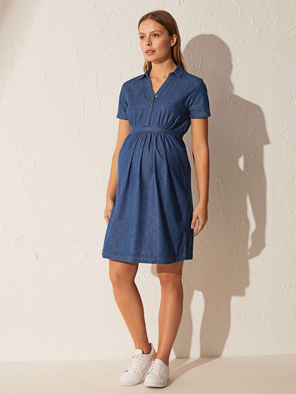 %100 Pamuk Robalı Gömlek Yaka İnce Günlük Kısa Kol Jean Elbise Düz Midi Jean Hamile Elbise
