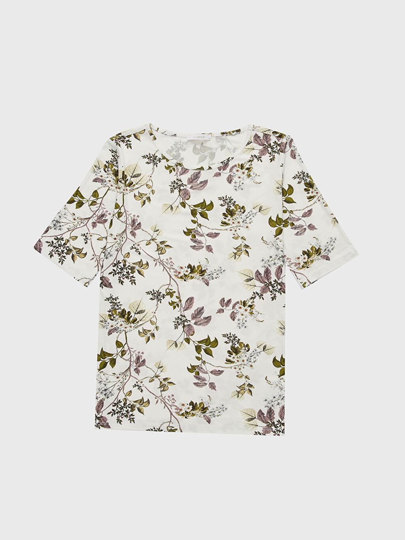 LC Waikiki Ekru Baskılı Viskon Tişört