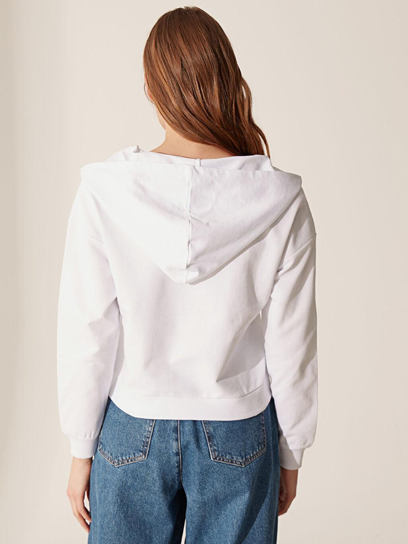 %100 Pamuk Yakası Fermuarlı Kapüşonlu Sweatshirt