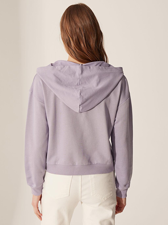 %85 Pamuk %15 Polyester Yakası Fermuarlı Kapüşonlu Sweatshirt