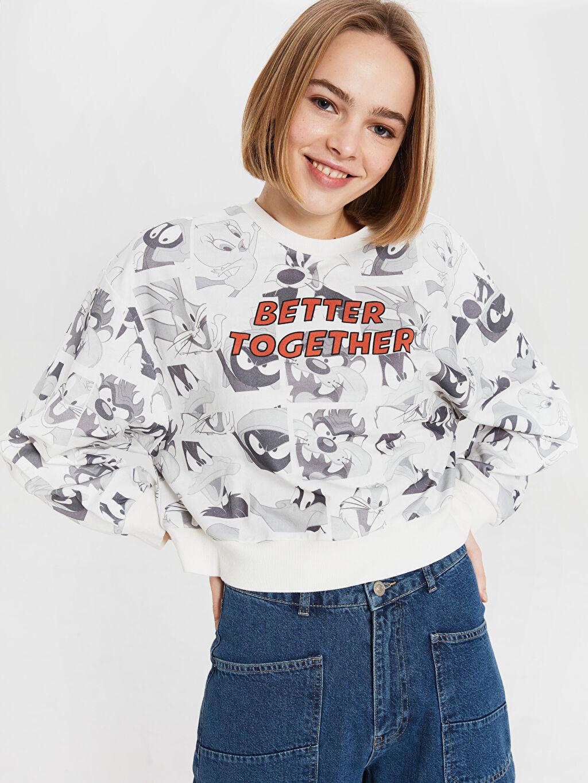 %100 Pamuk %100 Pamuk Günlük Standart Sweatshirt Standart Bisiklet Yaka İki İplik Looney Tunes Karakter Baskılı Sweatshirt