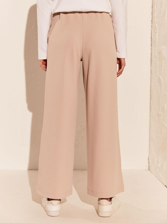 %94 Polyester %6 Elastan Beli Lastikli Geniş Paça Pantolon