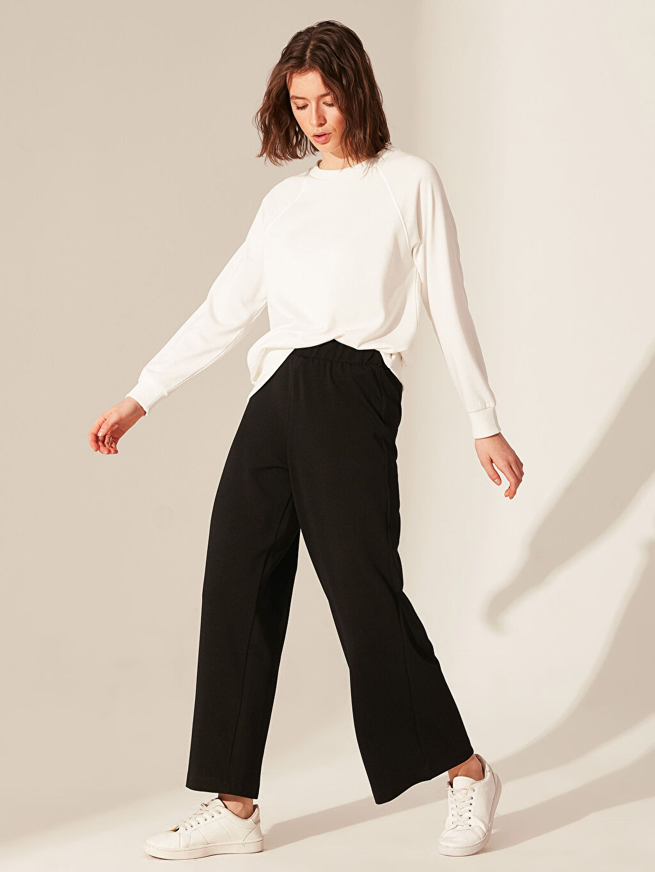 %100 Polyester Bol Normal Bel Geniş Paça Lastikli Bel Pantolon Beli Lastikli Geniş Paça Pantolon