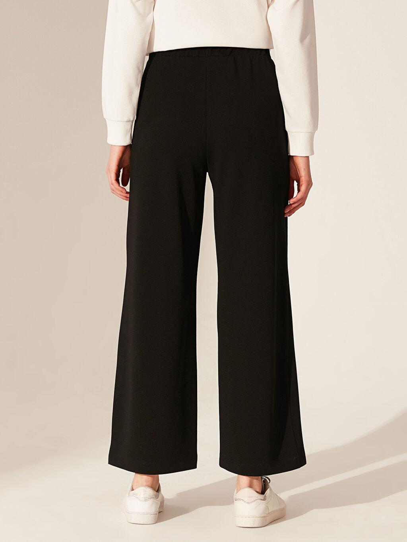 %100 Polyester Beli Lastikli Geniş Paça Pantolon