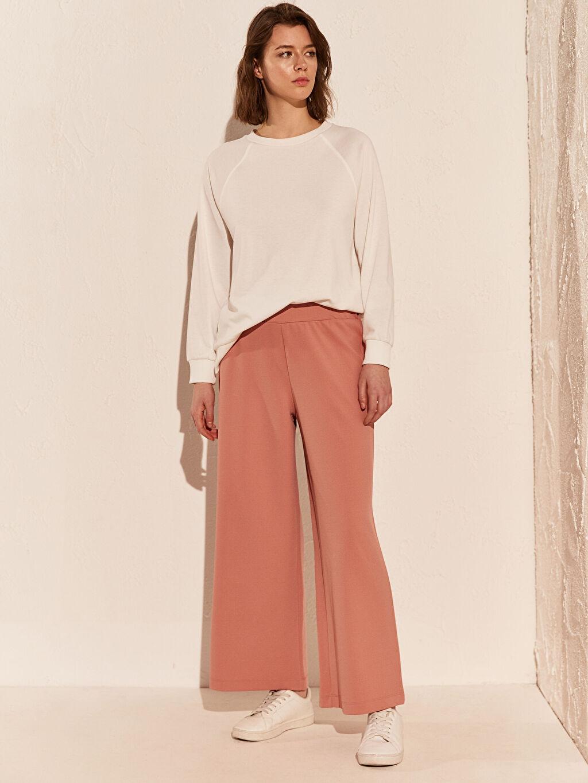 %94 Polyester %6 Elastan Bol Normal Bel Pantolon Geniş Paça Krep Beli Lastikli Geniş Paça Pantolon