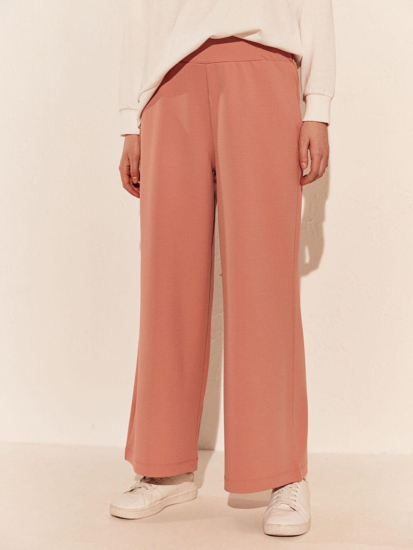 Kadın Beli Lastikli Geniş Paça Pantolon