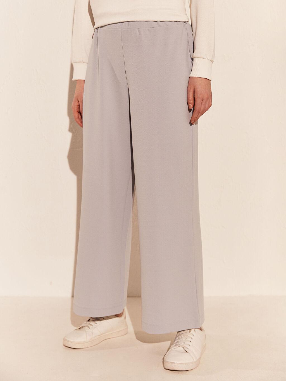 %94 Polyester %6 Elastan Orta Kalınlık Bol Normal Bel Pantolon Geniş Paça Krep Beli Lastikli Geniş Paça Pantolon