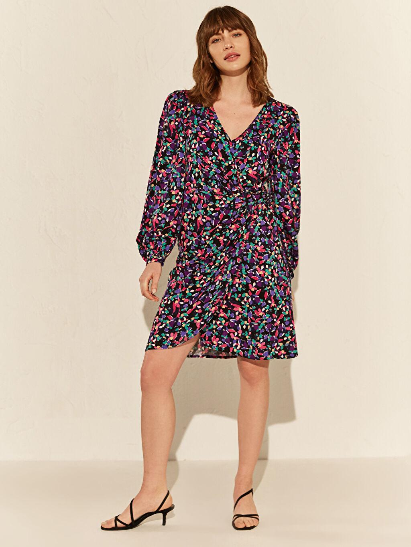 %100 Viskoz Uzun Kol Wrap Ofis/Klasik Standart Kruvaze Çiçekli Elbise Kısa Çiçek Desenli Viskon Elbise