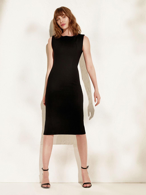 Siyah İncelten Etkili Esnek Kalem Elbise 0SP466Z8 LC Waikiki
