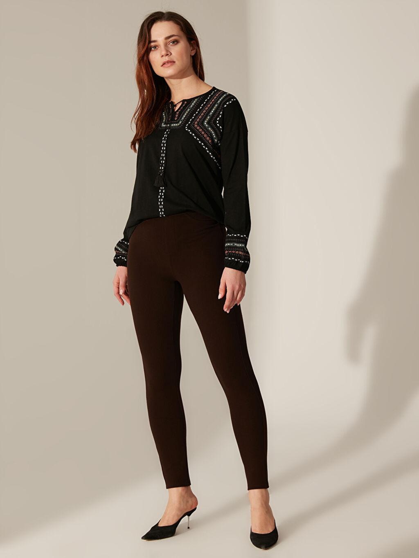 %23 Polyester %73 Viskoz %4 Elastan Pantolon Düz Dar Paça Orta Kalınlık Yüksek Bel Skinny Esnek Skinny Pantolon