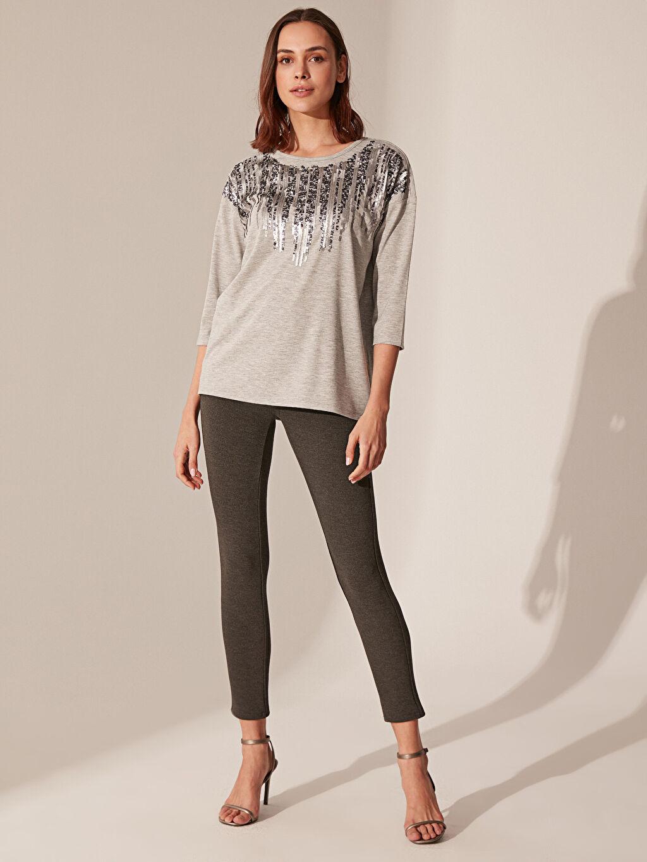 %71 Polyester %26 Viskoz %3 Elastan Pantolon Düz Dar Paça Yüksek Bel Skinny Esnek Skinny Pantolon