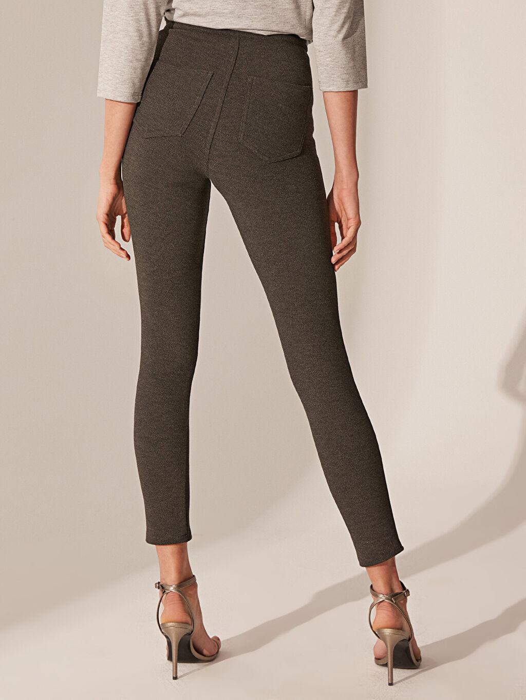 %71 Polyester %26 Viskoz %3 Elastan Esnek Skinny Pantolon