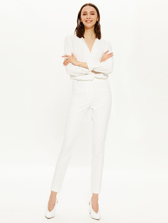 %87 Polyester %13 Elastan Havuç Kesim Pantolon Yüksek Bel Düz Bilek Boy Bilek Boy Havuç Kumaş Pantolon