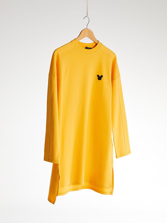 %94 Pamuk %6 Elastan  Yakası Mickey Mouse İşlemeli Pamuklu Sweatshirt