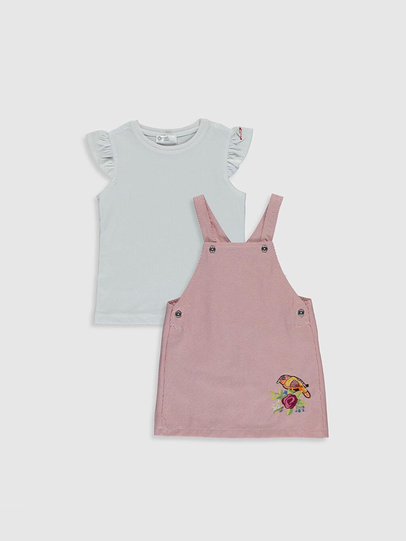 Pembe Luggi Baby Kız Bebek Tişört ve Salopet  0SV493Z1 LC Waikiki