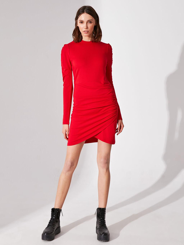 Kırmızı Re-SIS Drapeli Viskon Elbise 0SV536Z8 LC Waikiki