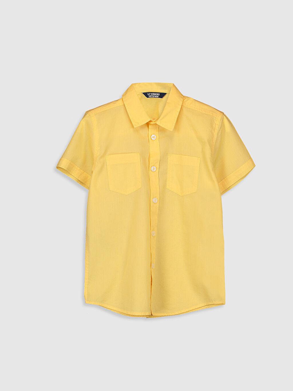 Sarı Erkek Çocuk Kısa Kollu Pamuklu Gömlek 0S0888Z4 LC Waikiki