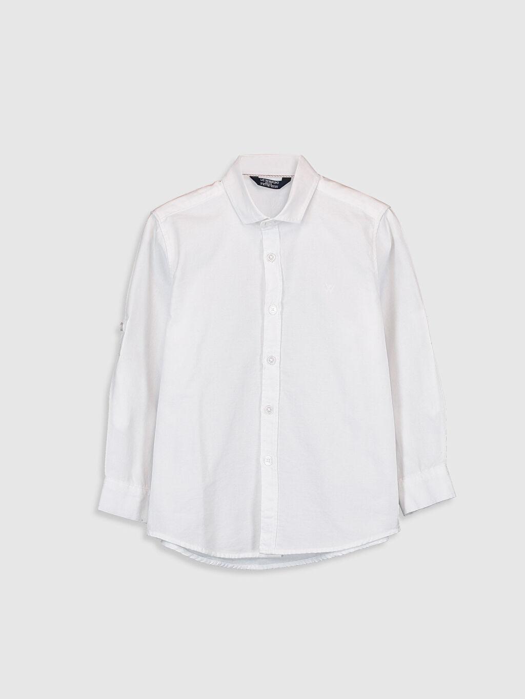 Beyaz Erkek Çocuk Uzun Kollu Oxford Gömlek 0S0894Z4 LC Waikiki