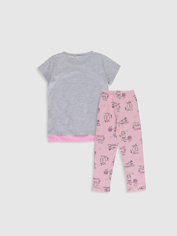 %48 Pamuk %52 Polyester Standart Süprem Baskılı Pijama Takım İnce Kısa Kol Kız Çocuk Baskılı Pijama Takımı