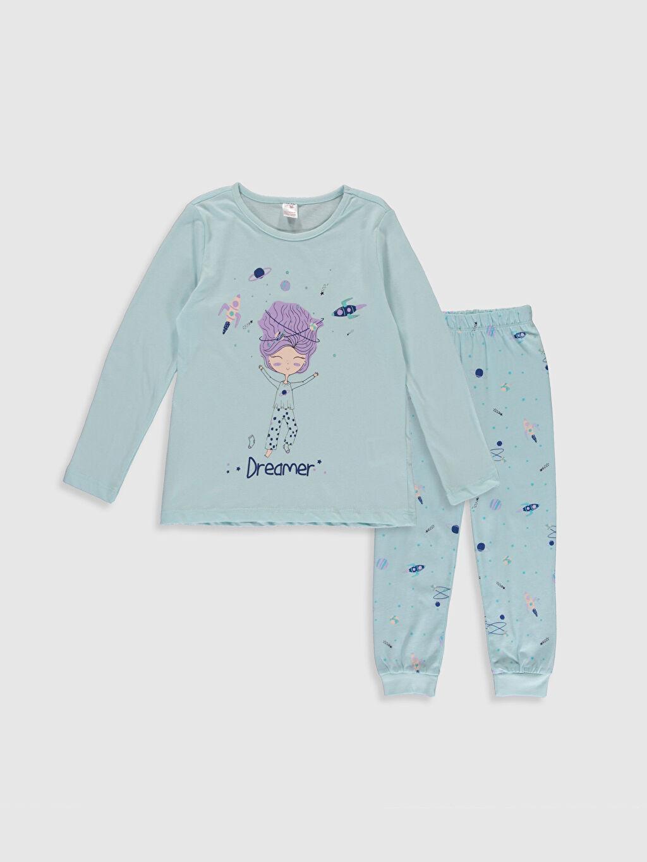 Mavi Kız Çocuk Baskılı Pamuklu Pijama Takımı 0S1384Z4 LC Waikiki