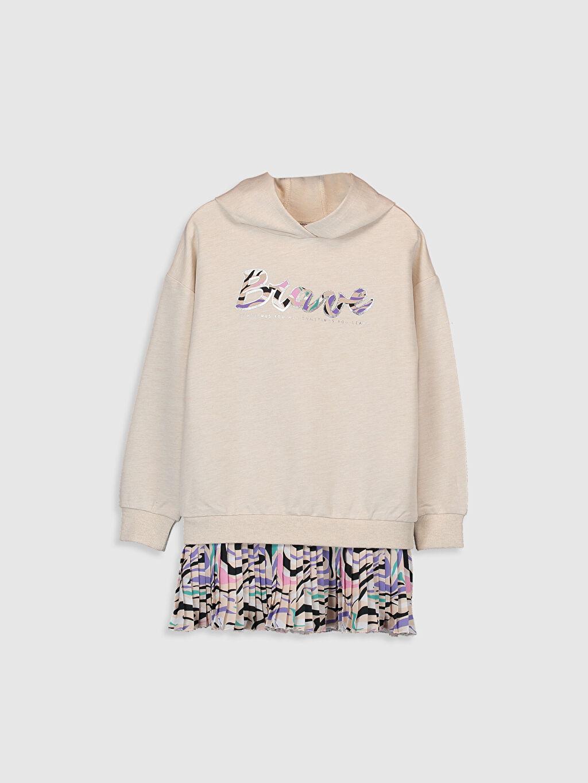 Bej Kız Çocuk Pileli Sweatshirt Elbise 0S1463Z4 LC Waikiki