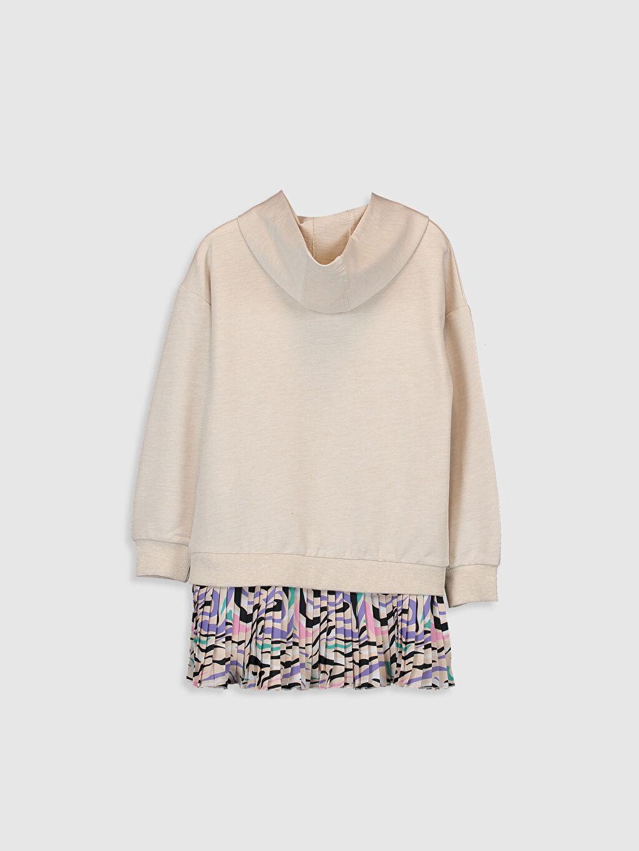 %61 Pamuk %39 Polyester Plili Düz Kapüşon Yaka Elbise İki İplik Diz Üstü Orta Kalınlık Uzun Kol Kız Çocuk Pileli Sweatshirt Elbise