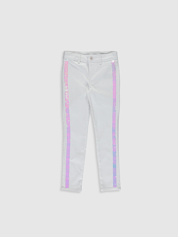 Beyaz Kız Çocuk Pul İşlemeli Skinny Pantolon 0S1521Z4 LC Waikiki