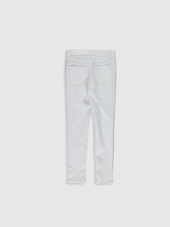 %66 Pamuk %30 Polyester %4 Elastan Normal Bel Dar Kız Çocuk Pul İşlemeli Skinny Pantolon