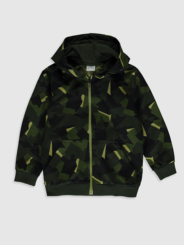 Yeşil Erkek Çocuk Fermuarlı Kapüşonlu Sweatshirt 0S1543Z4 LC Waikiki