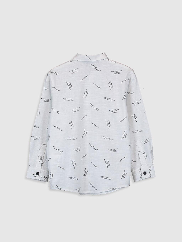 %100 Pamuk Aksesuarsız Gömlek Standart Baskılı Uzun Kol Poplin %100 Pamuk İnce Erkek Çocuk Desenli Poplin Gömlek