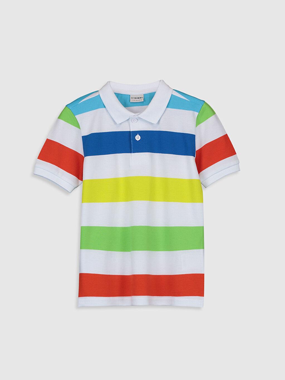 Beyaz Erkek Çocuk Çizgili Pamuklu Tişört 0S1725Z4 LC Waikiki