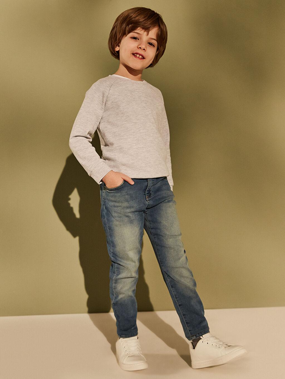 %64 Pamuk %32 Polyester %4 Elastan Erkek Çocuk Super Skinny Jean Pantolon