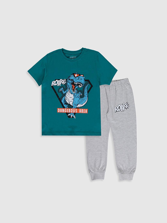 Gri Erkek Çocuk Baskılı Pijama Takımı 0S2219Z4 LC Waikiki