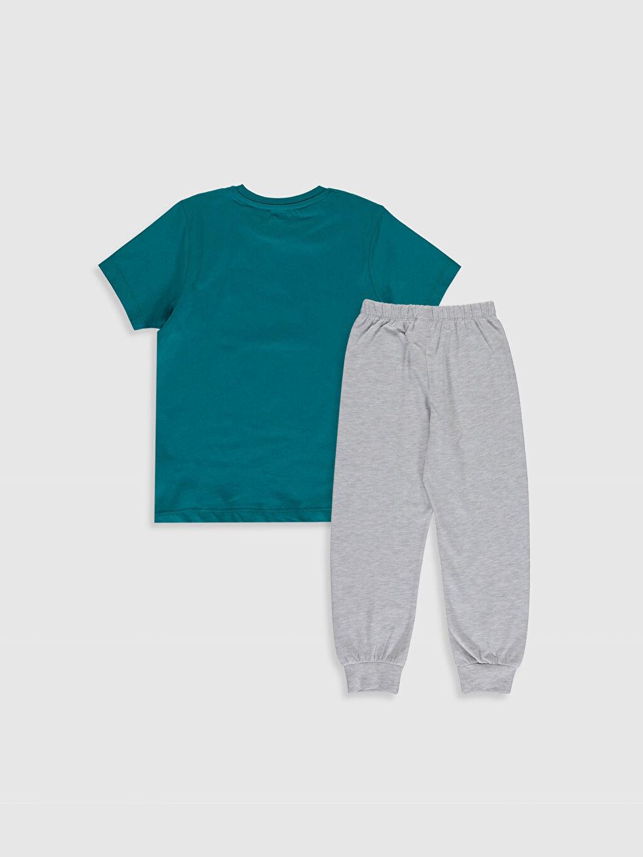 %49 Pamuk %51 Polyester İnce Kısa Kol Süprem Standart Pijama Takım Günlük Erkek Çocuk Baskılı Pijama Takımı