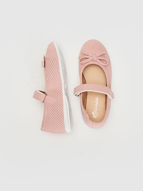 %0 Diğer malzeme (poliüretan)  Kız Çocuk Fiyonk Detaylı Babet Ayakkabı