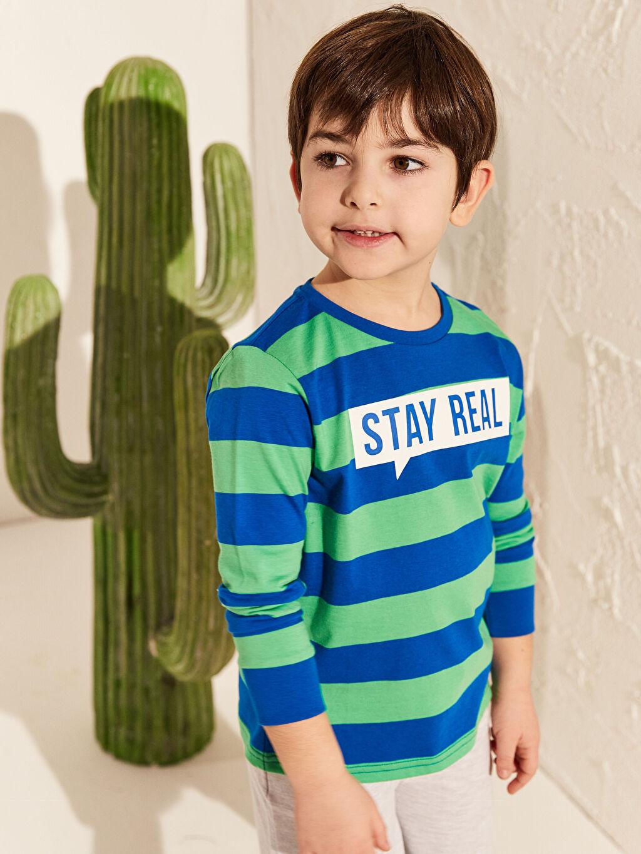 Yeşil Erkek Çocuk Çizgili Pamuklu Tişört 0S2354Z4 LC Waikiki
