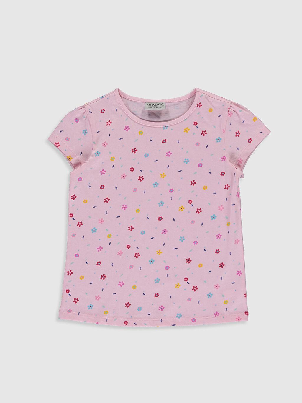 Pembe Kız Çocuk Baskılı Pamuklu Tişört 0S2358Z4 LC Waikiki