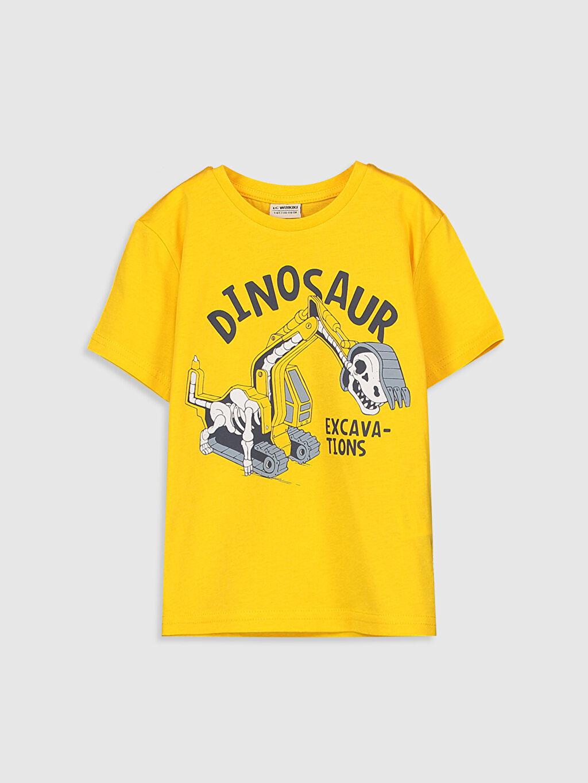 Sarı Erkek Çocuk Baskılı Pamuklu Tişört 0S2614Z4 LC Waikiki